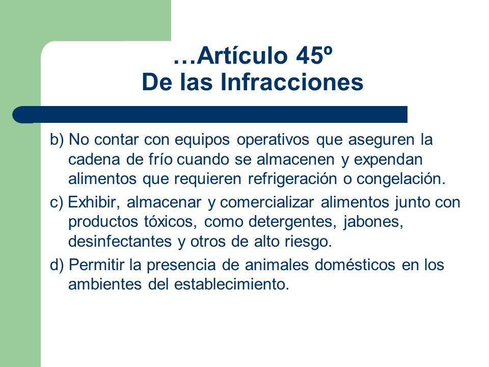 …Artículo 45º De las Infracciones