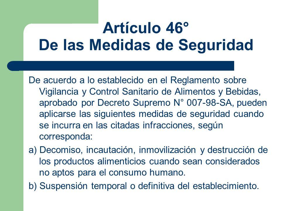 Artículo 46° De las Medidas de Seguridad