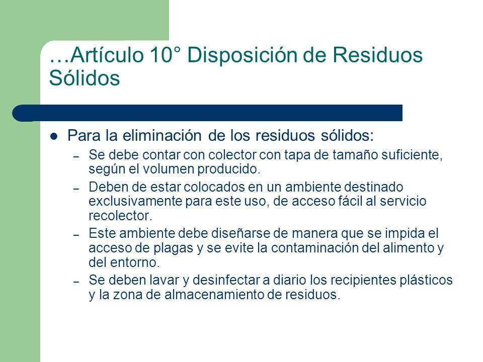 …Artículo 10° Disposición de Residuos Sólidos
