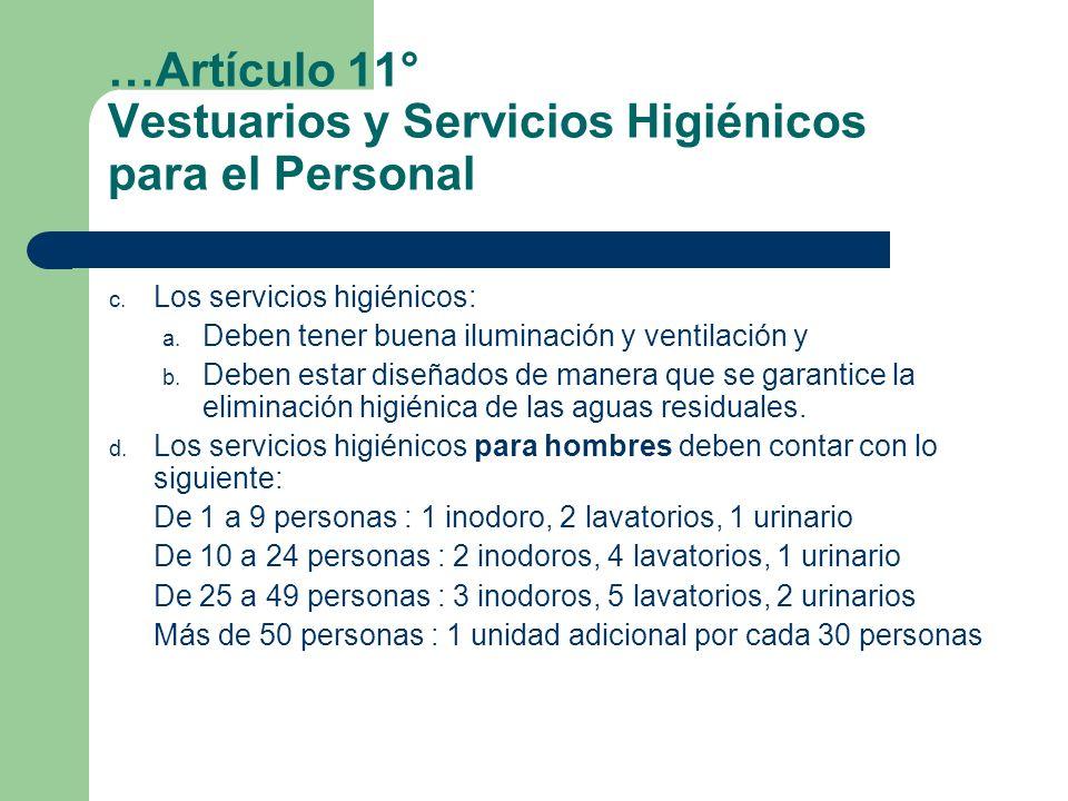 …Artículo 11° Vestuarios y Servicios Higiénicos para el Personal