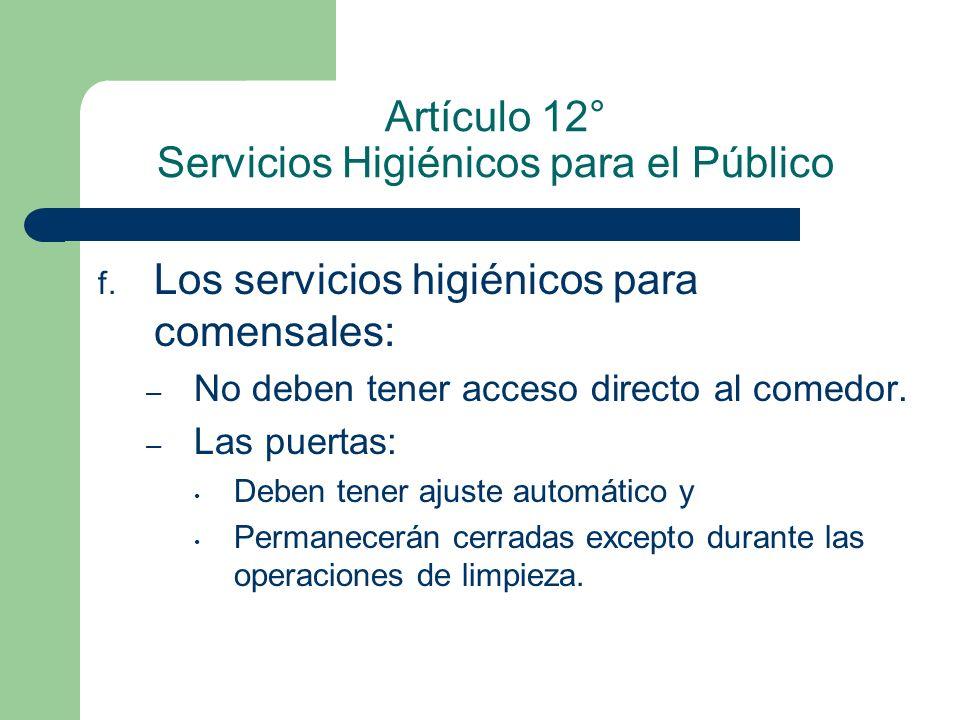 Artículo 12° Servicios Higiénicos para el Público