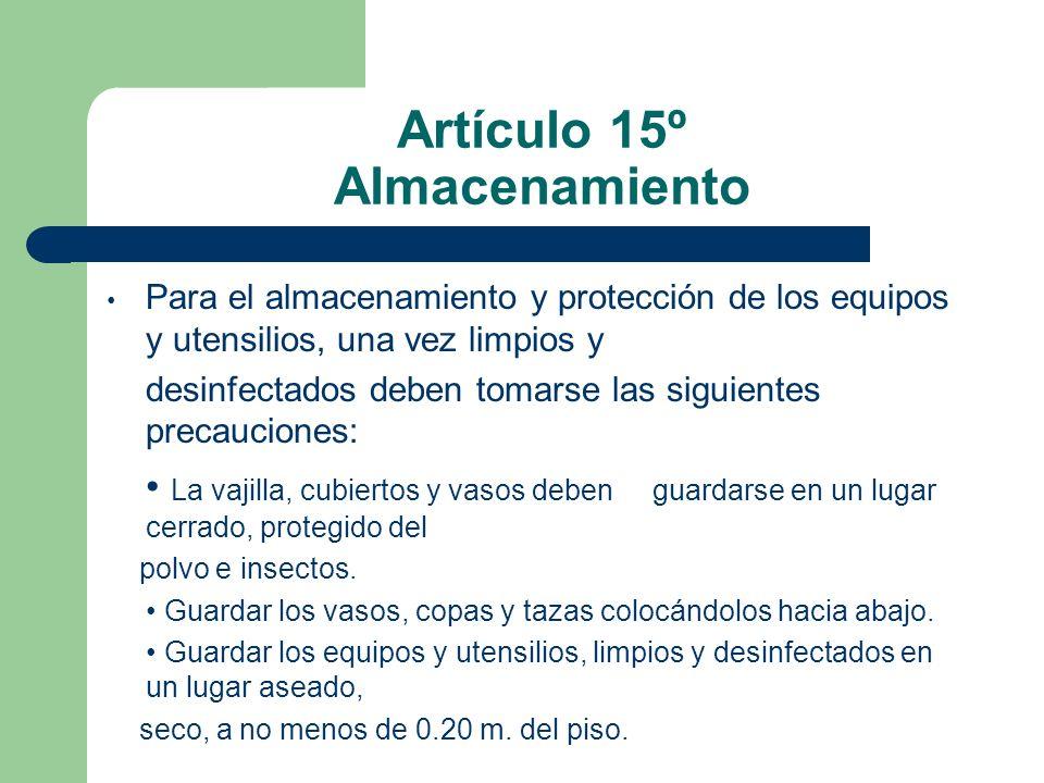 Artículo 15º Almacenamiento