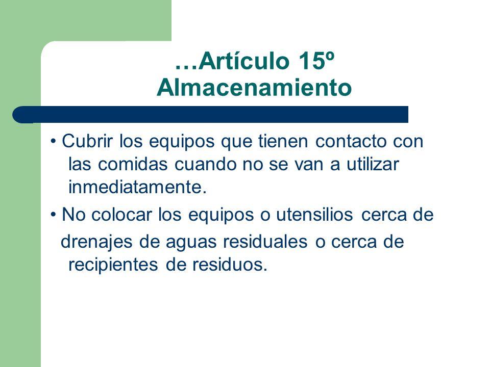 …Artículo 15º Almacenamiento