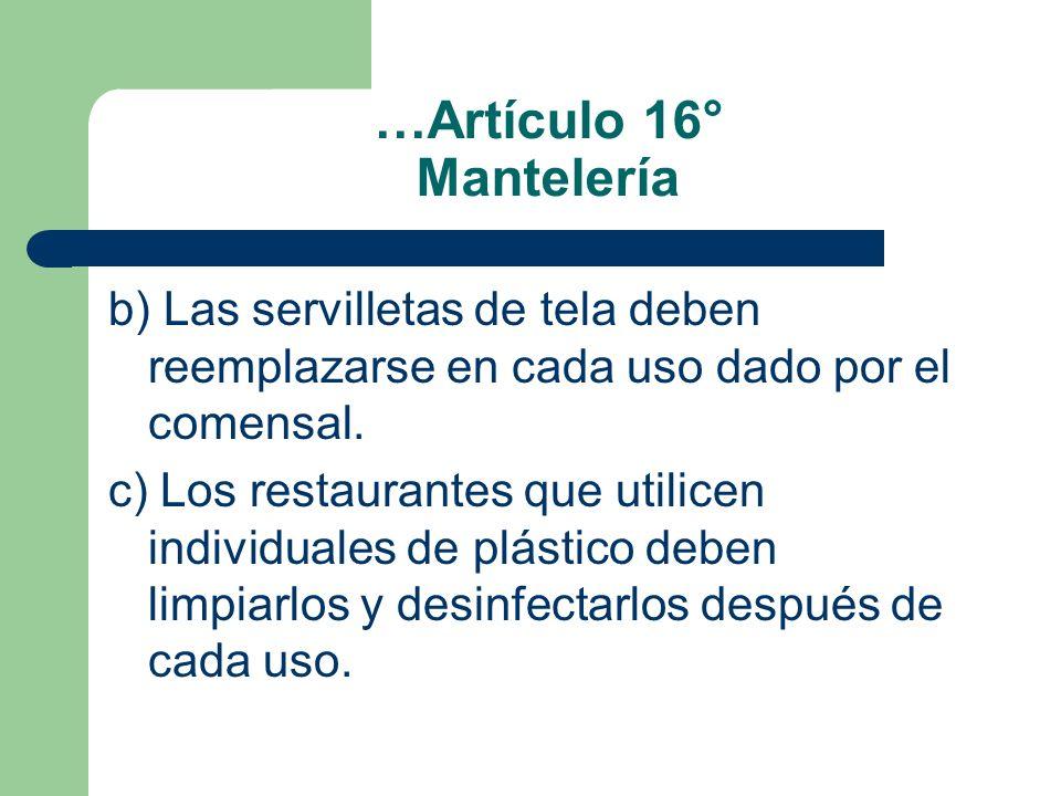 …Artículo 16° Mantelería