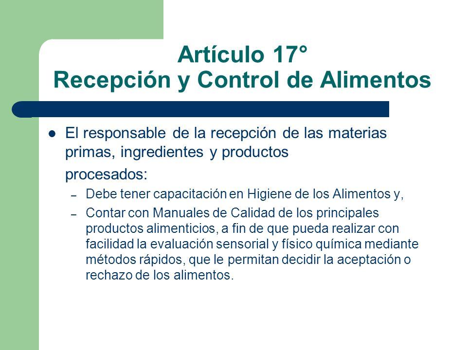 Artículo 17° Recepción y Control de Alimentos
