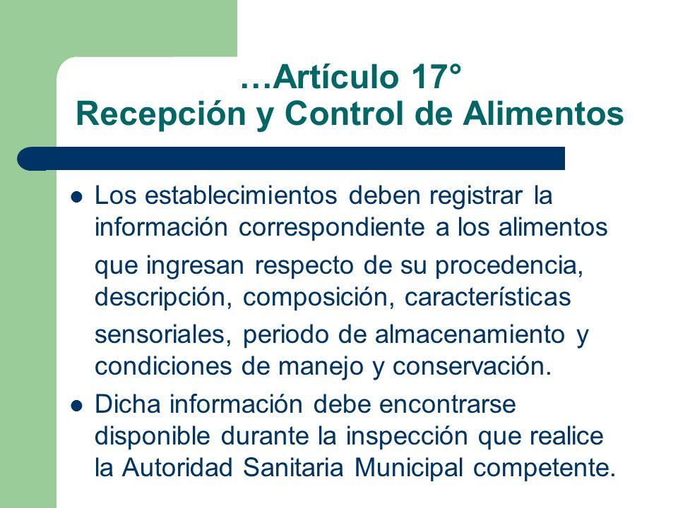 …Artículo 17° Recepción y Control de Alimentos