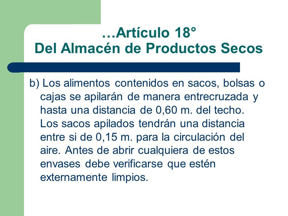 …Artículo 18° Del Almacén de Productos Secos
