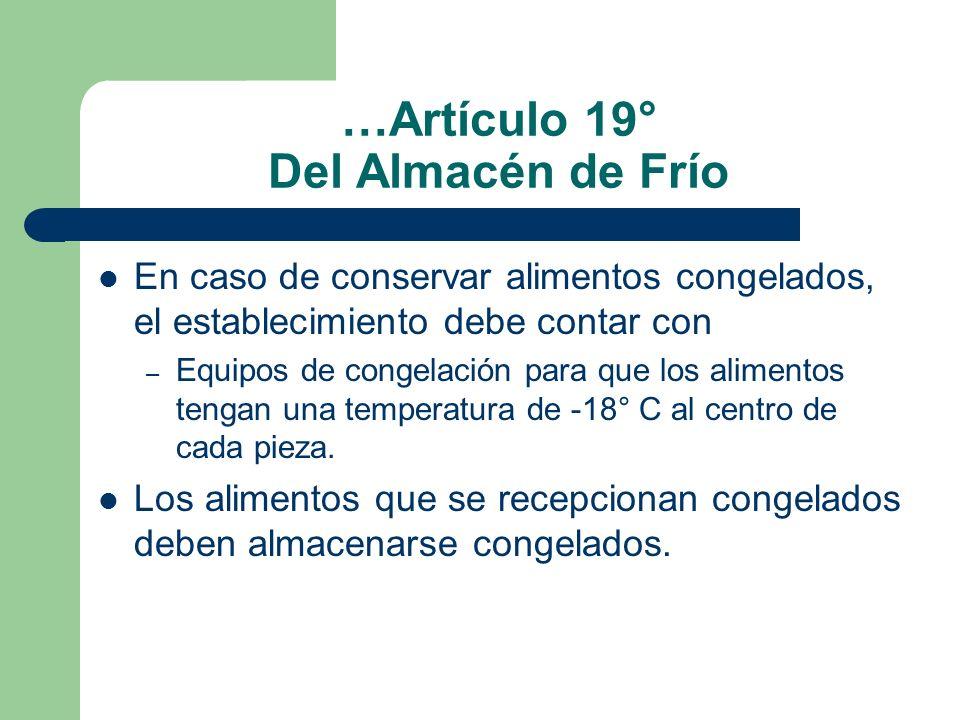 …Artículo 19° Del Almacén de Frío