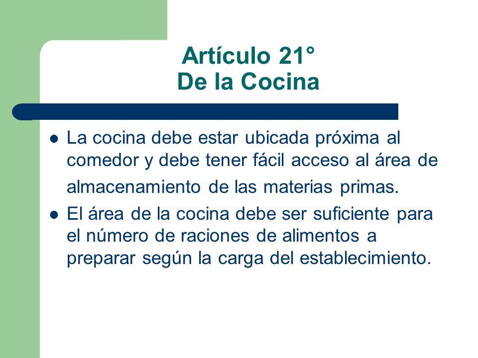 Artículo 21° De la Cocina La cocina debe estar ubicada próxima al comedor y debe tener fácil acceso al área de.