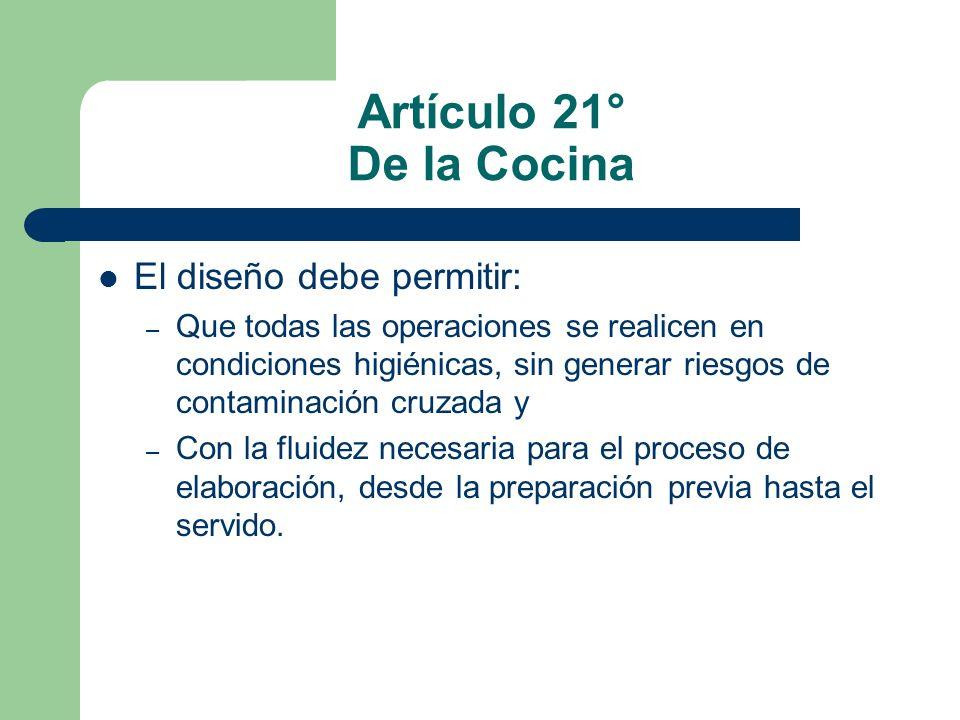 Artículo 21° De la Cocina El diseño debe permitir: