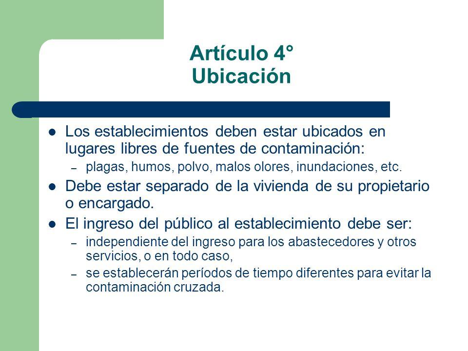 Artículo 4° Ubicación Los establecimientos deben estar ubicados en lugares libres de fuentes de contaminación: