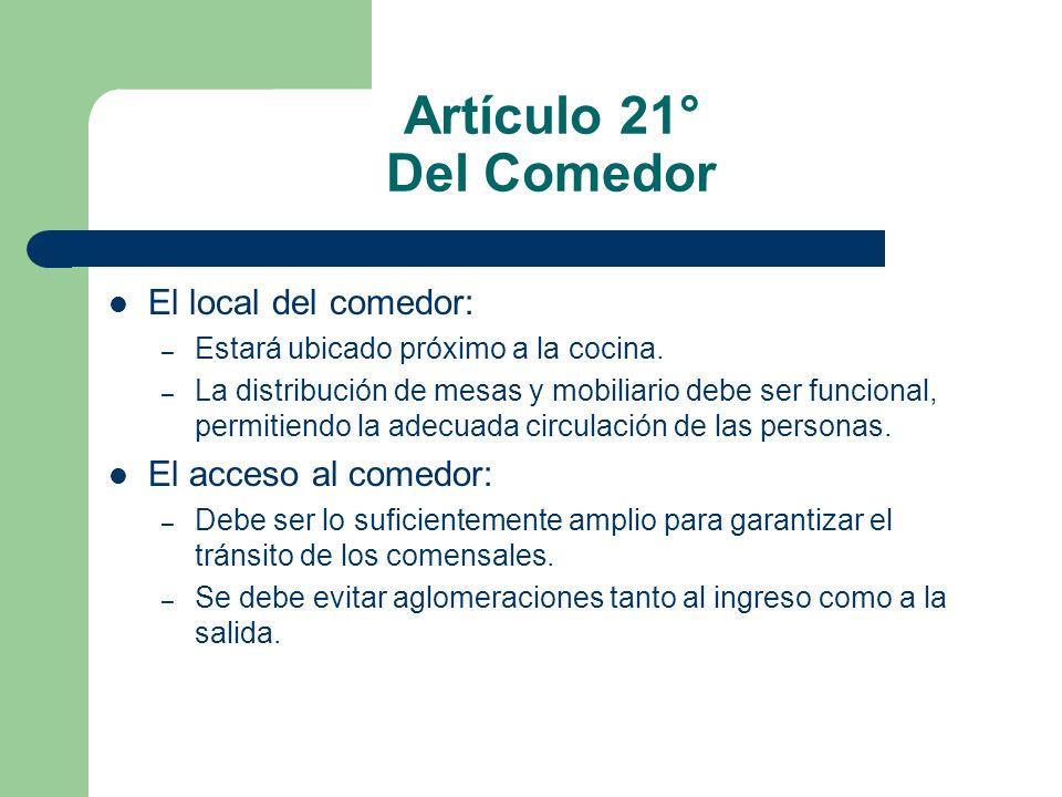Artículo 21° Del Comedor El local del comedor: El acceso al comedor: