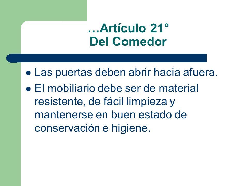 …Artículo 21° Del Comedor