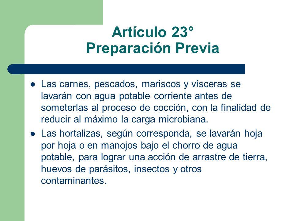 Artículo 23° Preparación Previa