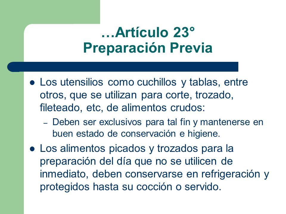 …Artículo 23° Preparación Previa
