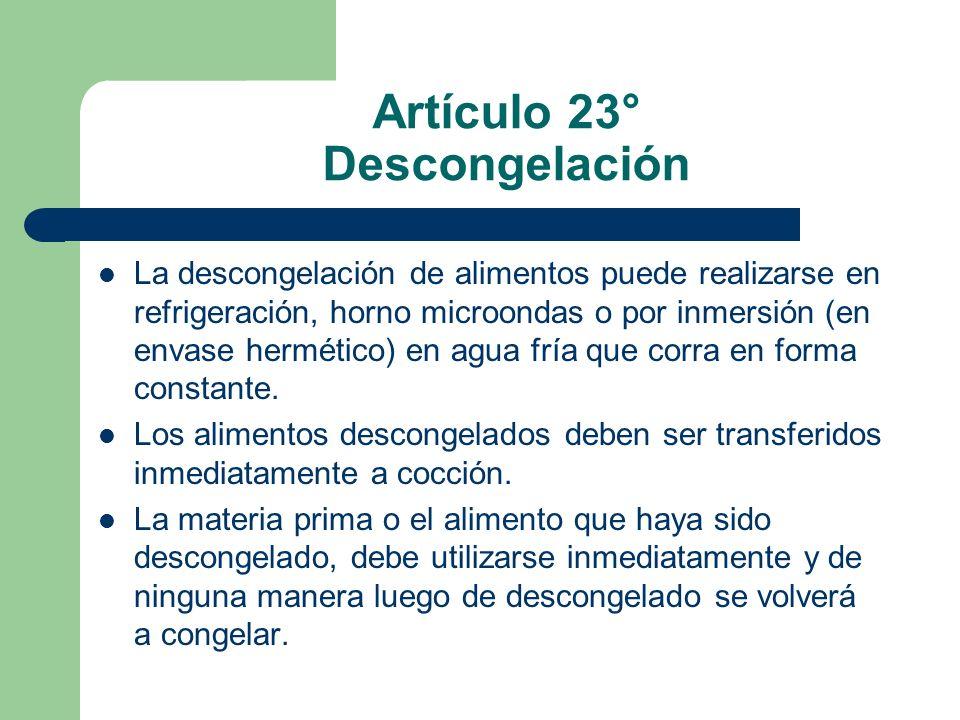 Artículo 23° Descongelación