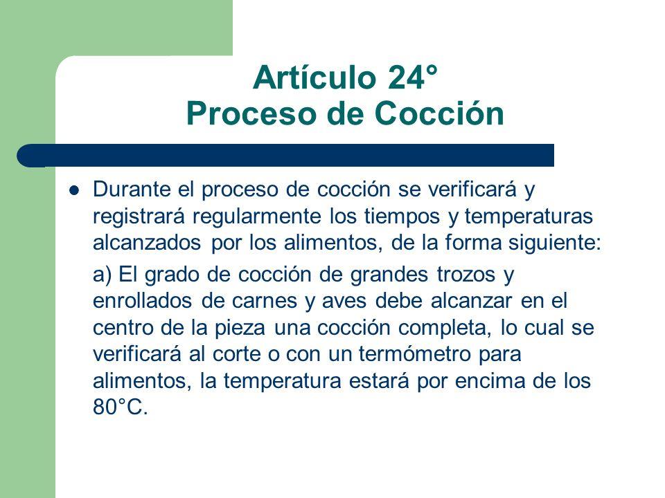Artículo 24° Proceso de Cocción