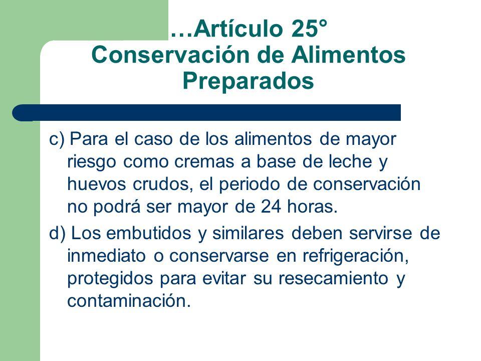 …Artículo 25° Conservación de Alimentos Preparados