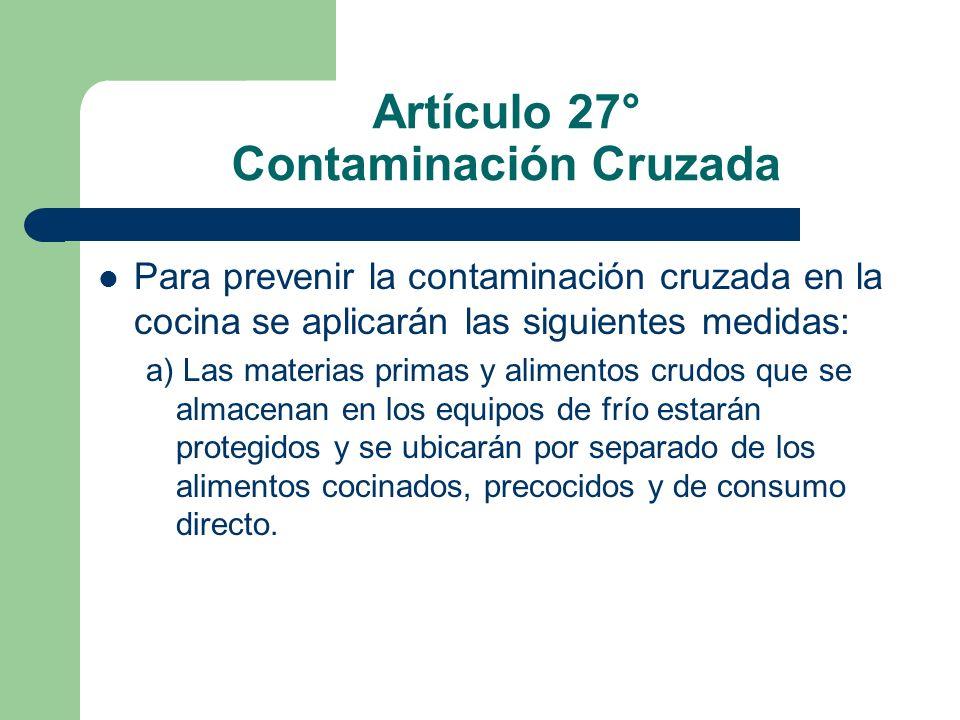 Artículo 27° Contaminación Cruzada