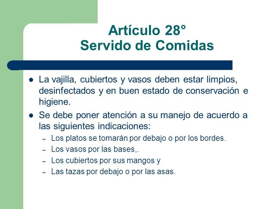 Artículo 28° Servido de Comidas