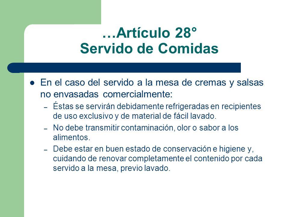 …Artículo 28° Servido de Comidas