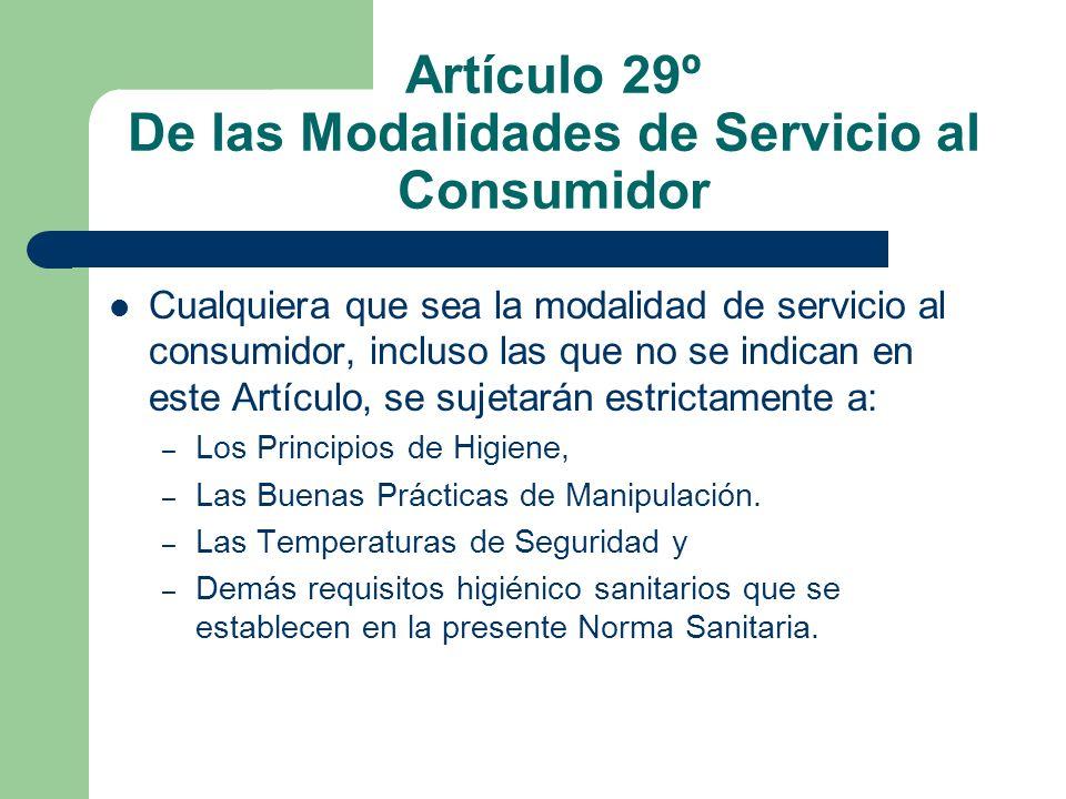 Artículo 29º De las Modalidades de Servicio al Consumidor