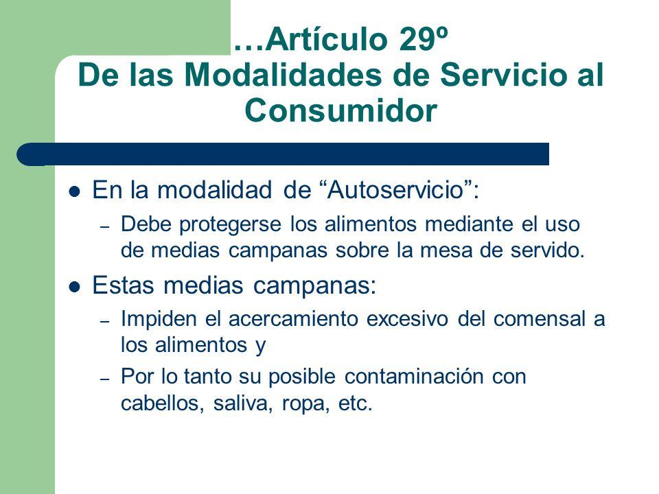 …Artículo 29º De las Modalidades de Servicio al Consumidor