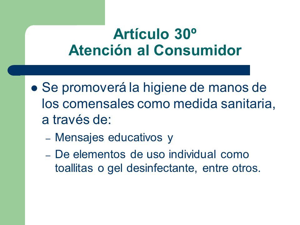 Artículo 30º Atención al Consumidor