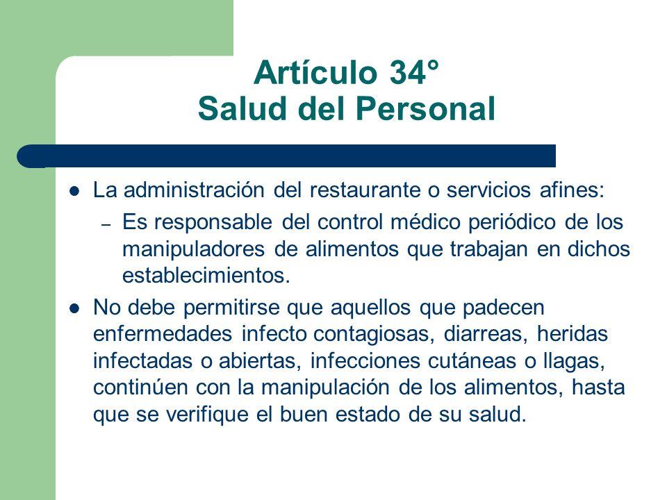 Artículo 34° Salud del Personal
