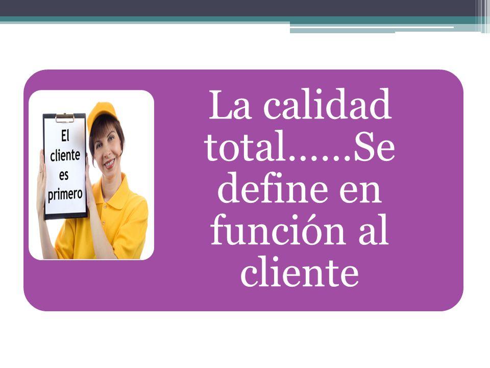 La calidad total……Se define en función al cliente
