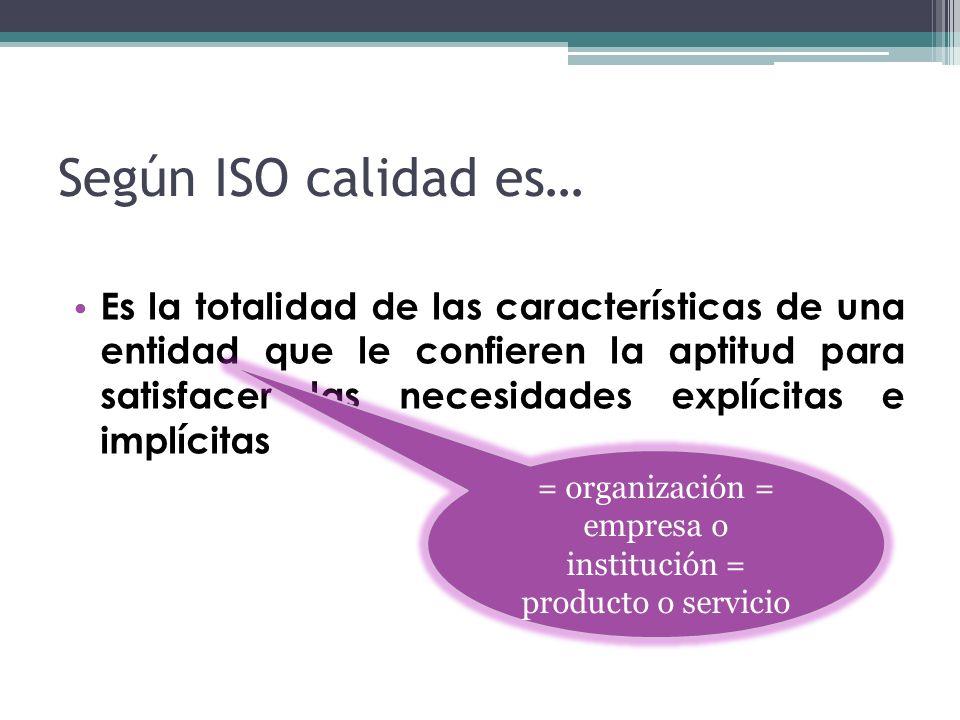 = organización = empresa o institución = producto o servicio