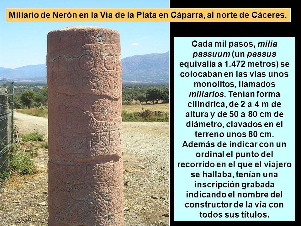 Miliario de Nerón en la Vía de la Plata en Cáparra, al norte de Cáceres.