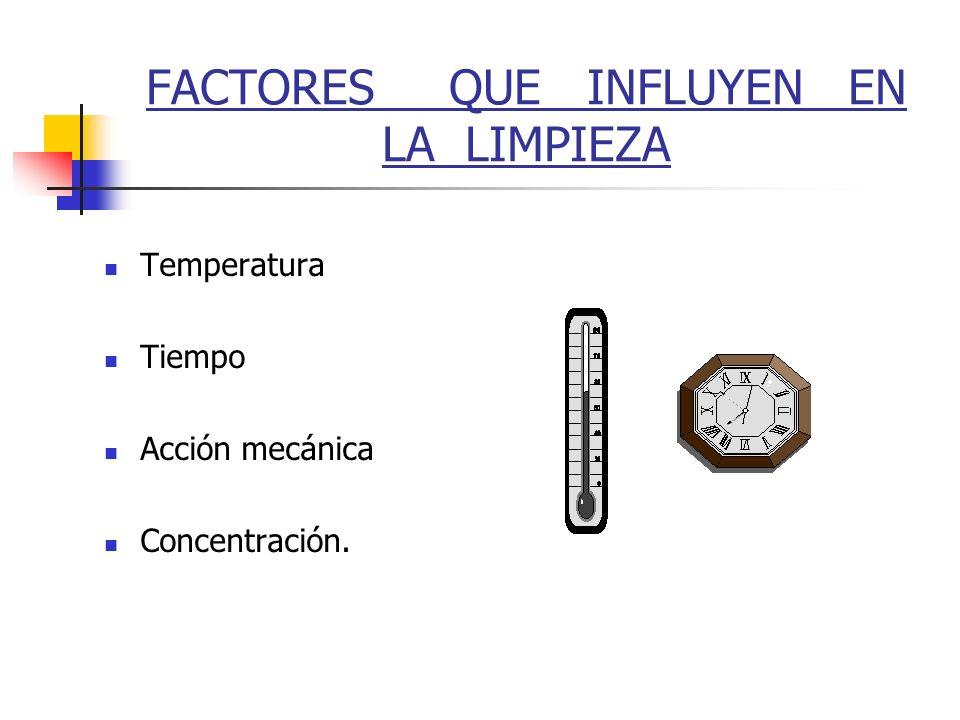 FACTORES QUE INFLUYEN EN LA LIMPIEZA