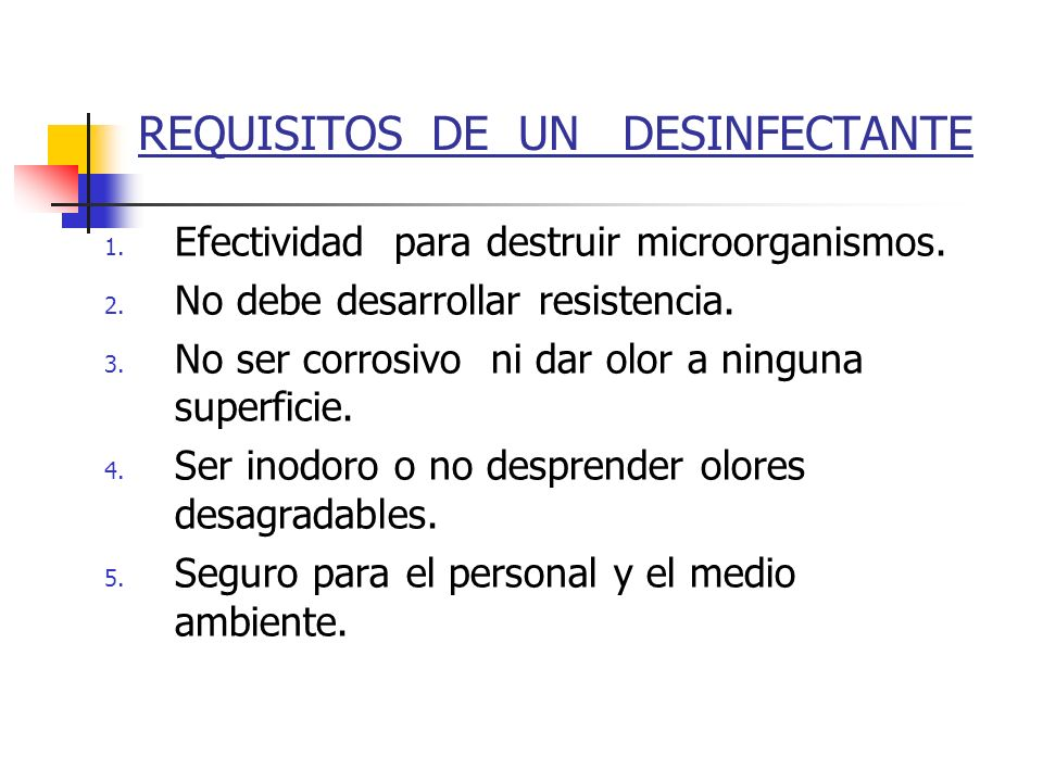 REQUISITOS DE UN DESINFECTANTE