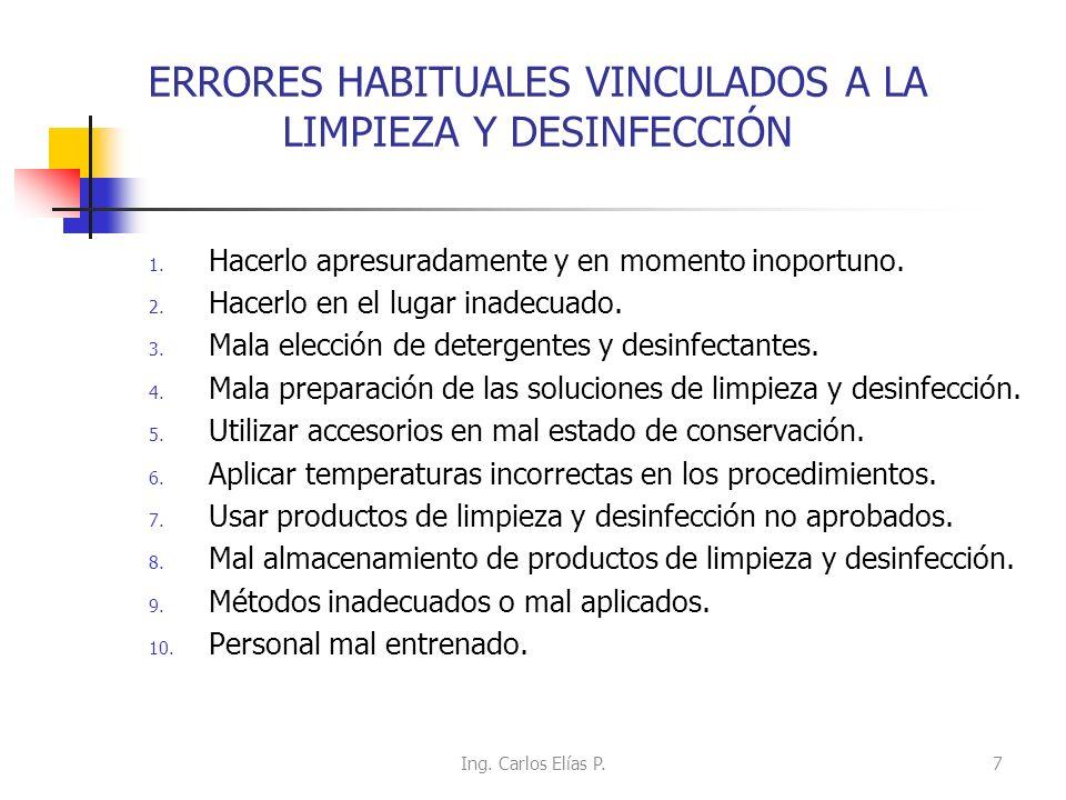 ERRORES HABITUALES VINCULADOS A LA LIMPIEZA Y DESINFECCIÓN