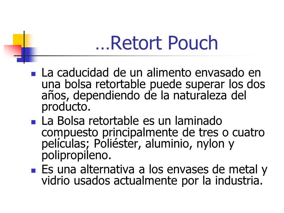 …Retort Pouch La caducidad de un alimento envasado en una bolsa retortable puede superar los dos años, dependiendo de la naturaleza del producto.