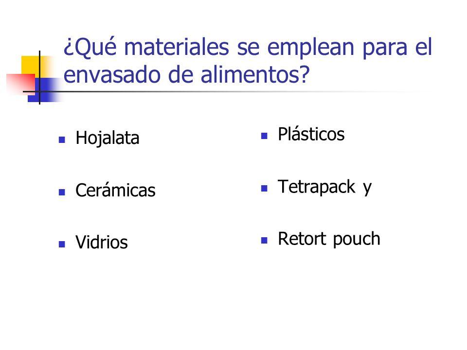 ¿Qué materiales se emplean para el envasado de alimentos