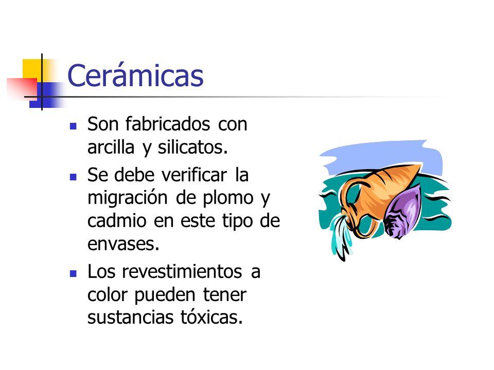 Cerámicas Son fabricados con arcilla y silicatos.
