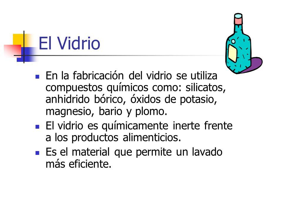 El Vidrio En la fabricación del vidrio se utiliza compuestos químicos como: silicatos, anhidrido bórico, óxidos de potasio, magnesio, bario y plomo.