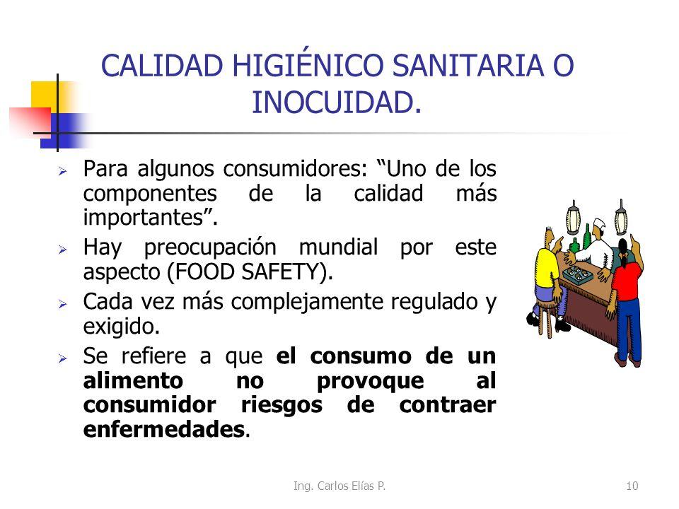 CALIDAD HIGIÉNICO SANITARIA O INOCUIDAD.