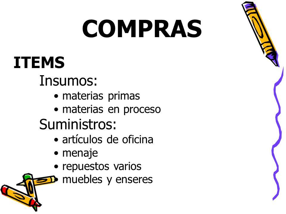 COMPRAS Insumos: materias primas materias en proceso Suministros: