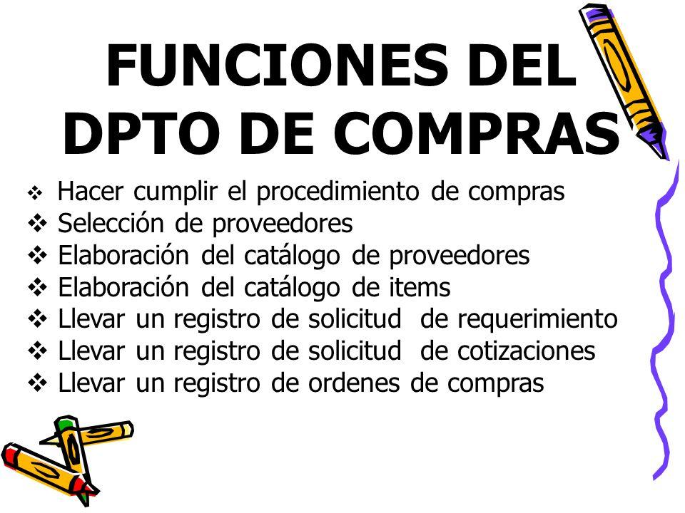 FUNCIONES DEL DPTO DE COMPRAS