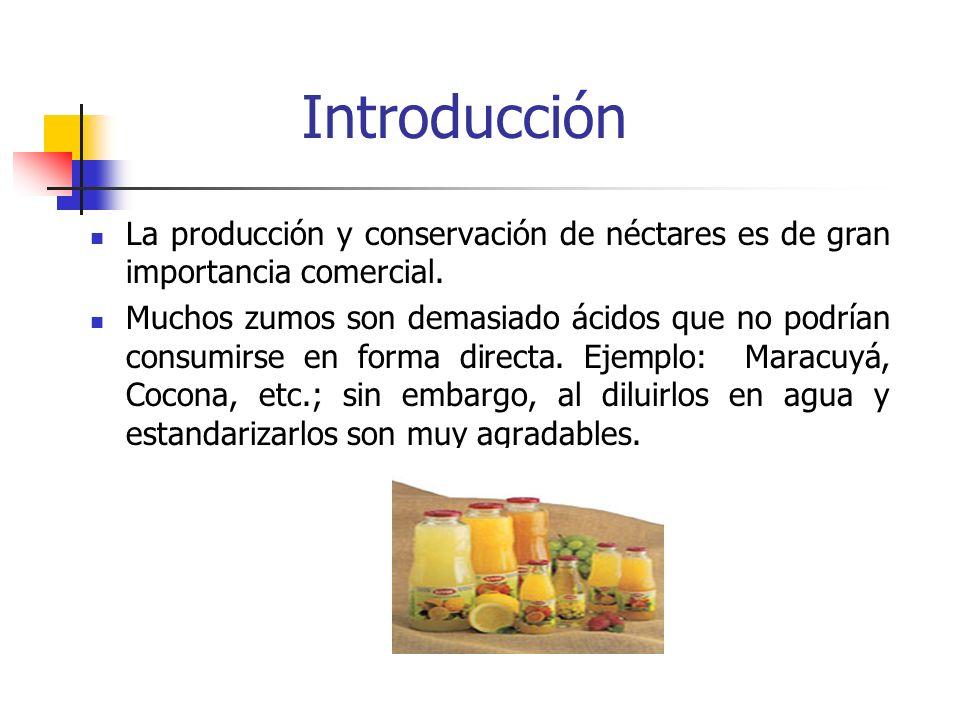 Introducción La producción y conservación de néctares es de gran importancia comercial.