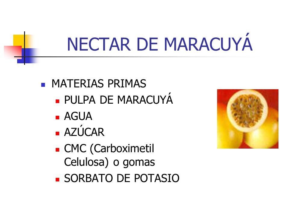 NECTAR DE MARACUYÁ MATERIAS PRIMAS PULPA DE MARACUYÁ AGUA AZÚCAR