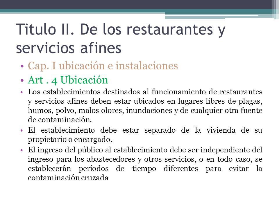Titulo II. De los restaurantes y servicios afines