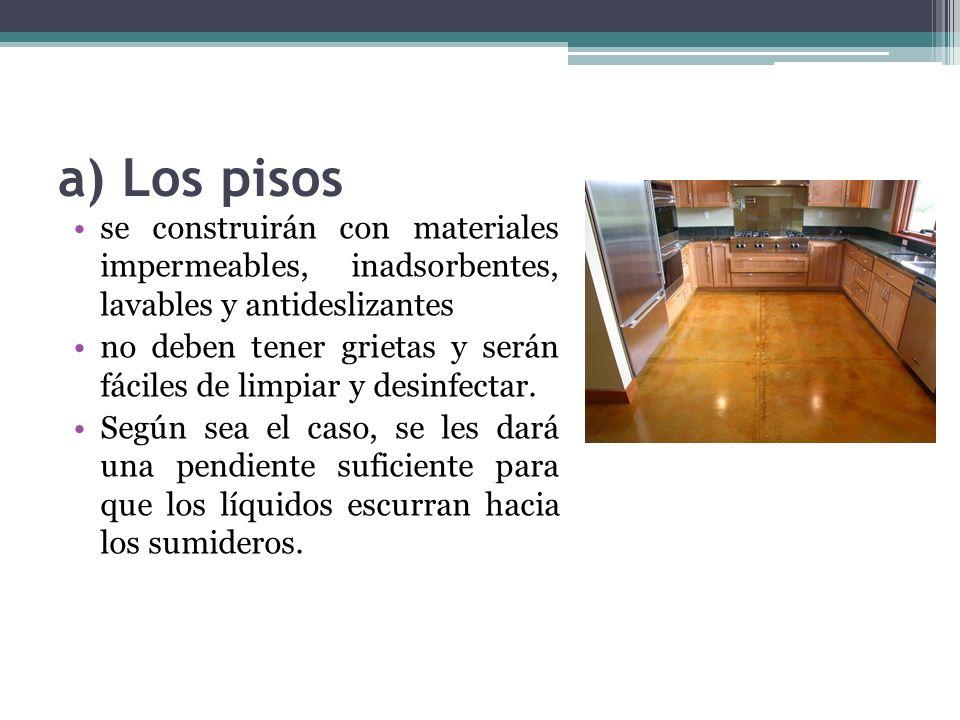 a) Los pisos se construirán con materiales impermeables, inadsorbentes, lavables y antideslizantes.