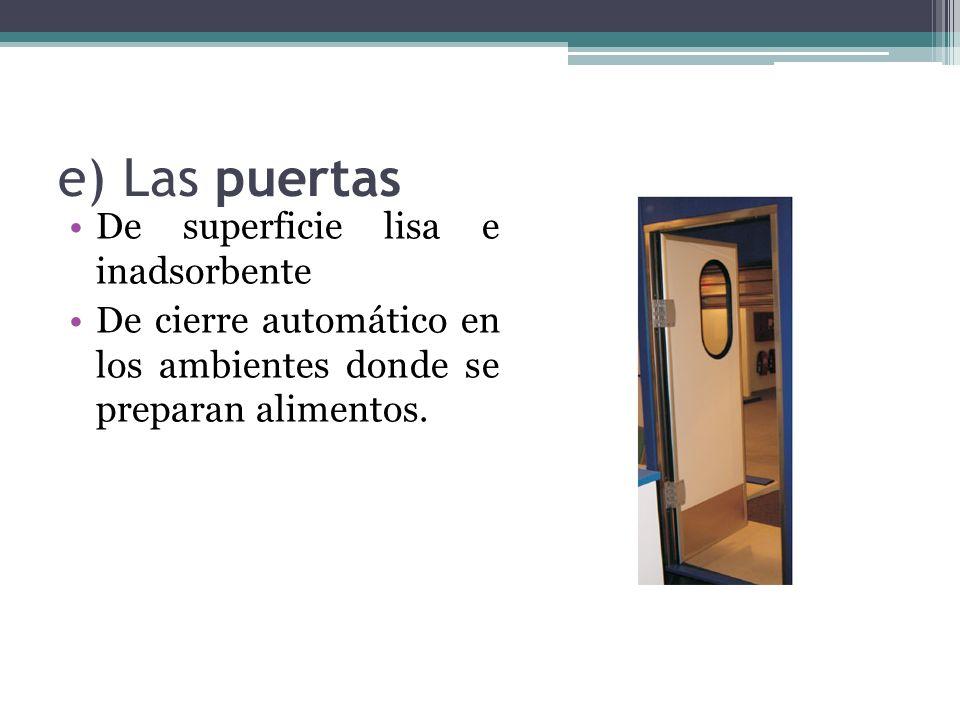 e) Las puertas De superficie lisa e inadsorbente