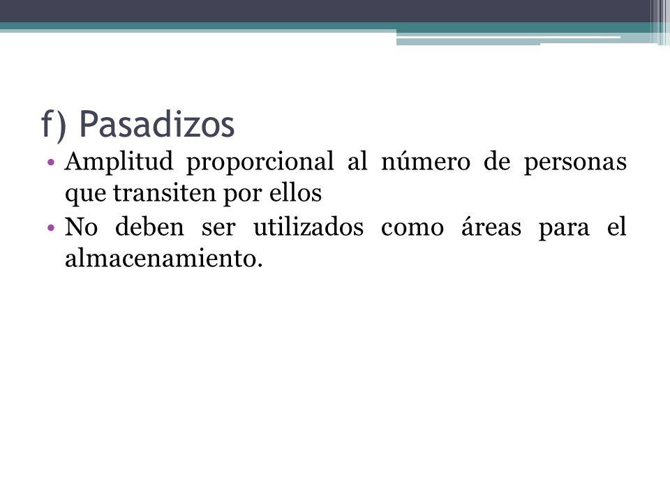f) Pasadizos Amplitud proporcional al número de personas que transiten por ellos.