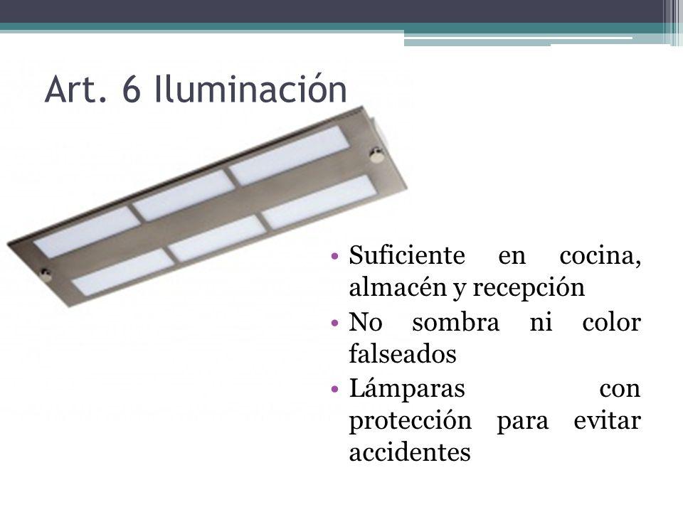 Art. 6 Iluminación Suficiente en cocina, almacén y recepción