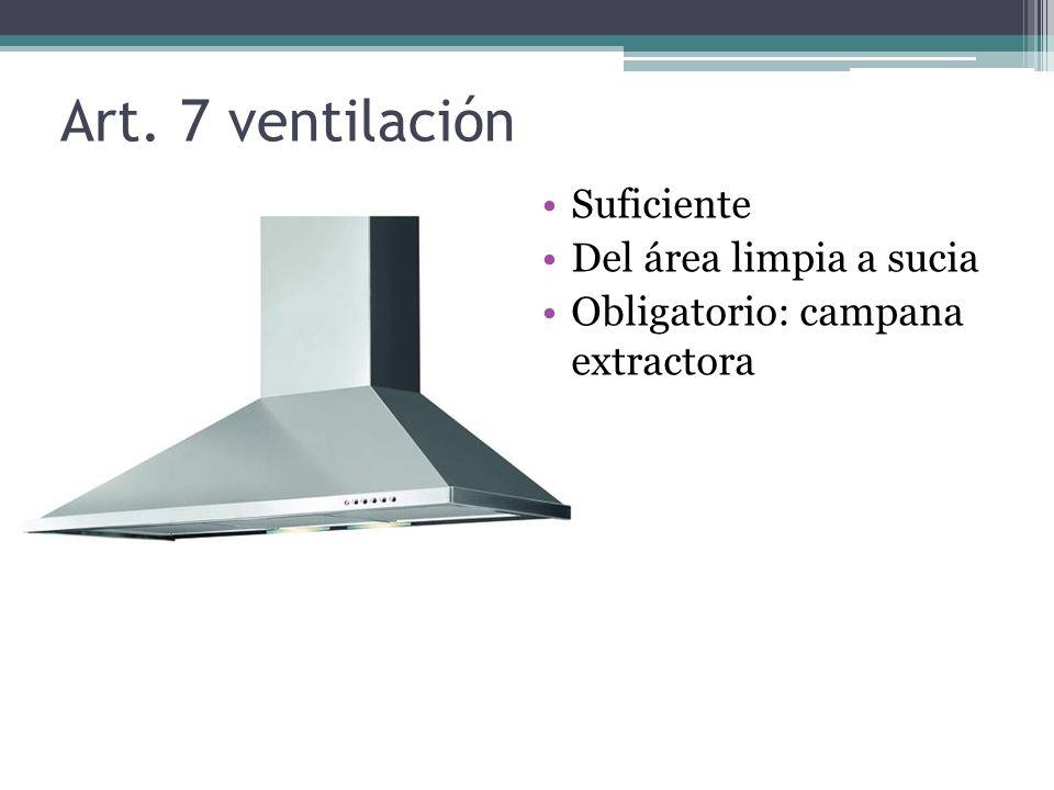 Art. 7 ventilación Suficiente Del área limpia a sucia